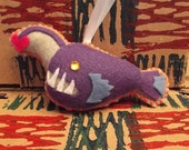 Angler deep sea fish felt ornament with heart bait made to order