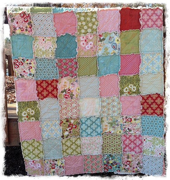 Rag Quilt - Queen Size - Hello Luscious Made to Order Modern Handmade Bedding