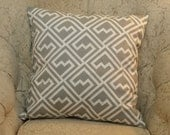 Two 20 x 20  Designer Decorative Pillow Covers  in 100% Cotton - Grey/Black/Turquoise/ Yellow