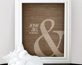 Ampersand Love - Custom Wedding Date Name Print - Personalized Valentine Gift - Any Color - Shower Gift - Engagement Present - Unframed