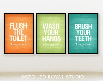 Love Mom Bathroom Prints - Set of 3 - You Choose Color and Size - Modern Posters - Funny Bathroom Humor - Unframed