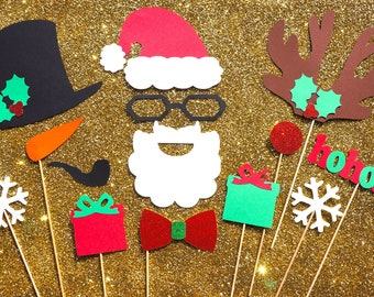 Christmas Photo Booth Props - 14 piece set - GLITTER Photobooth Props - Santa, Rudolph, and Frosty