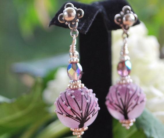 Soft pink feminine tree beads Bali sterling silver earrings