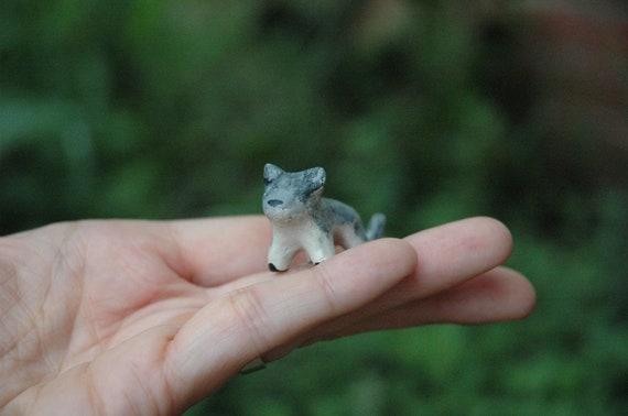 Grey Wolf Totem Animal- Clay Wolf Miniature - Petite Patronus Defender Against Evil Totem