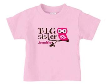 Personalized big sister owl t shirt, cut owl Matching sibling t-shirt