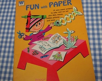 SALE fun with paper, vintage 1970s children's activity book