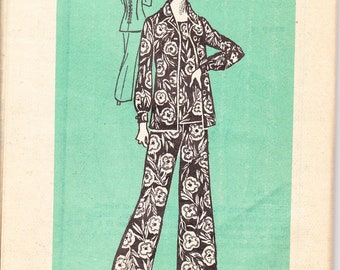 1970's Sewing Pattern Mail Order Marian Martin 9039 misses overblouse, jacket, pants size 14