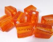 20 Vintage 12x8mm Glitter Orange Lucite  Square Twist Beads Bd324