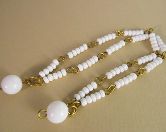 8 Vintage 6.5 Inch White Bead and Brass Chain Dangles Ch144