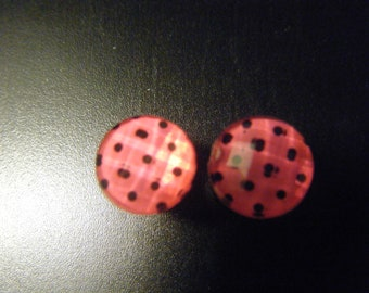0 Gauge Pink and Black Polka Dot Plugs