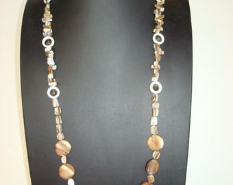 """36""""' long shell necklas in neutral color.Brown"""