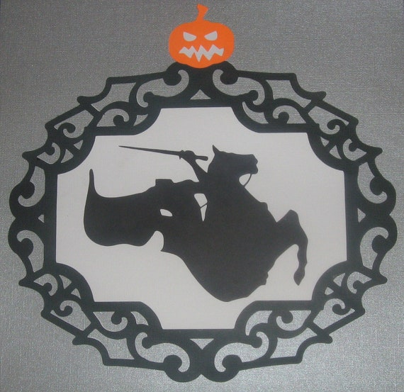 Headless Horseman, Sleepy Hollow, Silhouette, Victorian, Halloween party decorations, favor bags, banners, invitations, framed art, Spooky