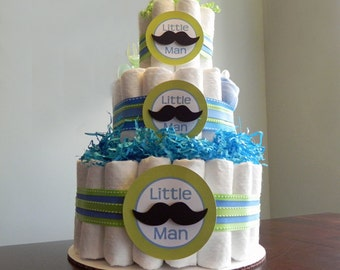 Little Man Mustache Diaper Cake  - Three Tier Baby Shower Gift or Centerpiece boy green blue black