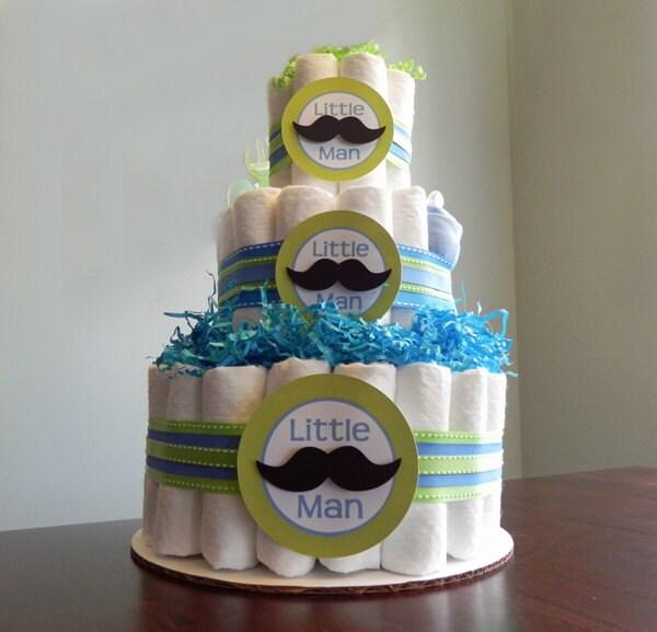 little man mustache diaper cake three tier baby by babybinkz