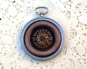 SALE 25 PERCENT OFF Vintage Pocket Watch Case and Purple Buttons Pendant Necklace Jewelry
