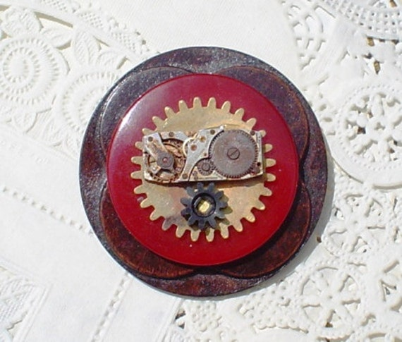 CLEARANCE 25 Percent Off Vintage Button Pin/Brooch: Oh No, It's Mr. Bill Steampunk Watch Parts Jewelry