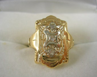 Antique Filigree Ring .06Ctw White and Yellow Gold Size 4.75 Art Deco 1.6grams