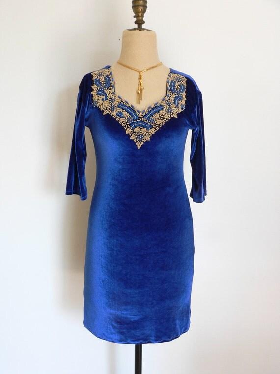 Beaded ELECTRIC BLUE Stretch VELVET Mini Dress