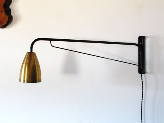 Wall Lamps Etsy : Items similar to Black powder coated swiveling wall lamp with brass shade on Etsy