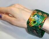 cij sale Ladies Exotic Green Bangle - Lizard Bangle Wearable Art - Ready To Post Handmade Green iguana bracelet Christmasinjuly