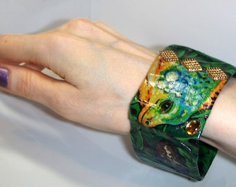 cij sale Ladies Exotic Green Bangle - Lizard Bangle Wearable Art - Ready To Post Handmade Green iguana bracelet Christmasinjuly
