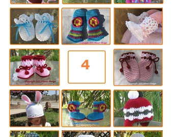 Pattern Pack for any FOUR patterns - Crochet Patterns Crochet Hat Pattern Knitting Patterns Scarf Mittens Booties Boots Sweater Pattern Sale