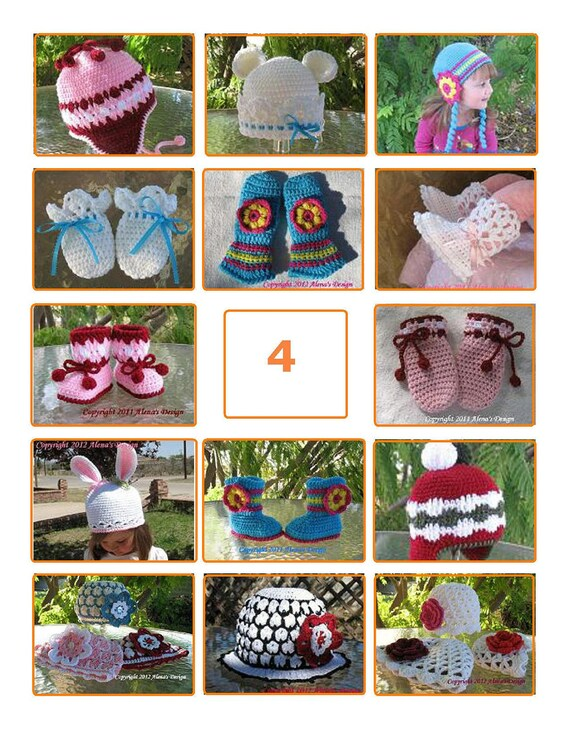 Your choice of any FOUR patterns listed in my shop - Pattern Pack Crochet Patterns Baby Toddler Children Hat Mittens Booties Scarf Sweater
