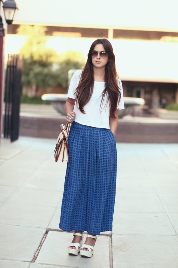 Cobalt Blue High Waisted Pleated Silk Midi Skirt Maxi - Lizzie