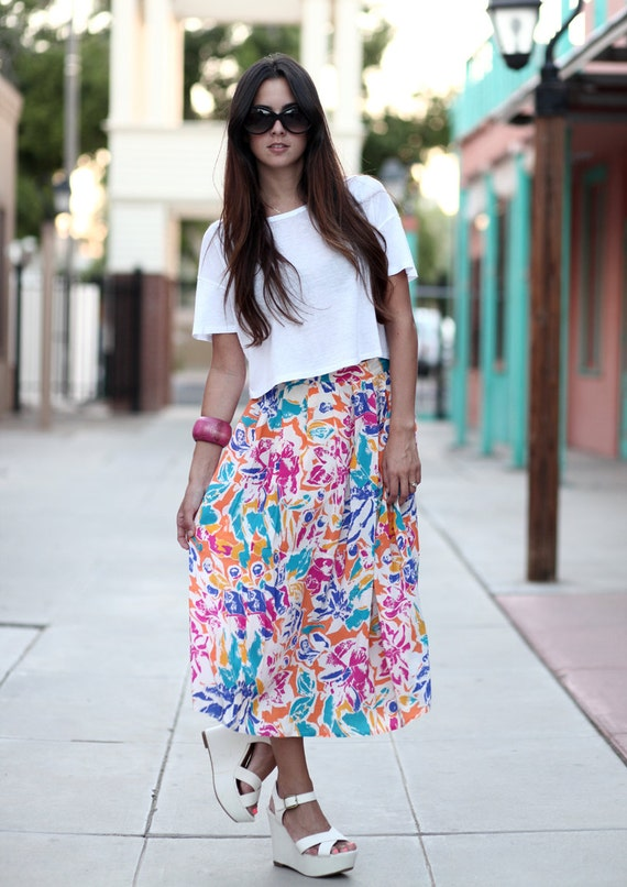 Bright Floral Silk Highwaisted Pleated Midi Skirt - S.J. Floral