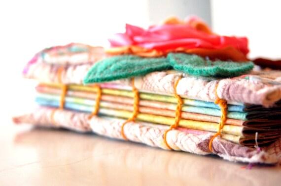Vintage Quilt /Book Paper Fabric Art Journal - Travel Size