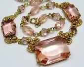 Vintage Signed Czech Glass Necklace Blush Pink Gilt Brass Roses & Flowers Art Deco 20s 30s