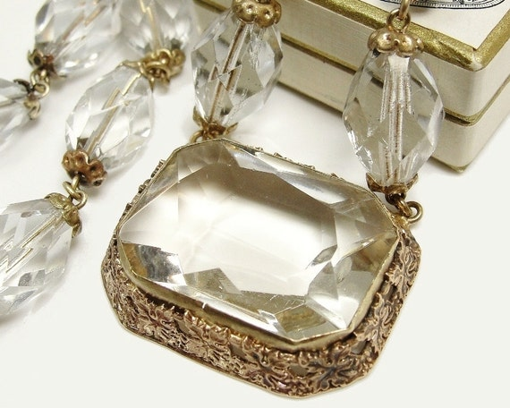 1920s Art Deco Czech Glass Necklace Clear Crystals Gilt Brass Ivy Leaf Frame Wedding Jewelry