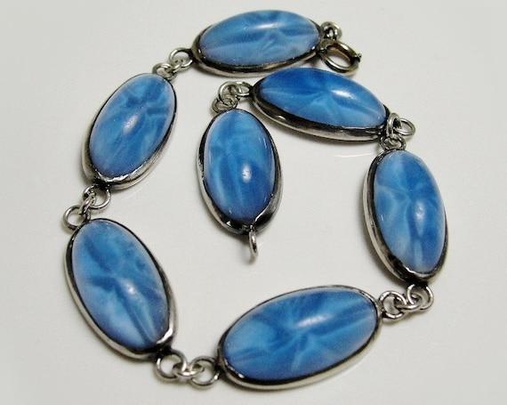 sale Art Deco Sterling Silver Bracelet Star Sapphire Blue Czech Glass Stones Vintage 1930s
