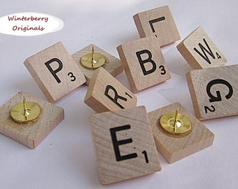 Scrabble Push Pins - Set of 10 Random Letters - Co-Worker Gift, office supplies, gag gift