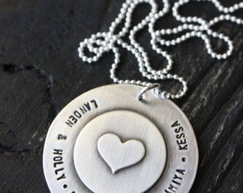 Hand Stamped Jewelry Beautiful Custom Large Soldered Sterling Silver Heart Keepsake Necklace Mothers Day