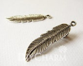 Antique Silver Long Feather Charms 45x11mm - 10Pcs - DF21761