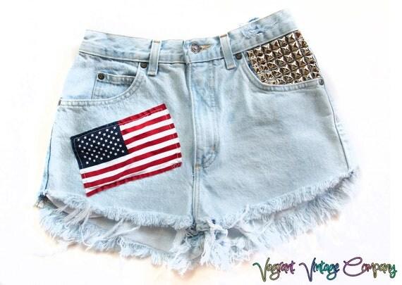 Vintage High Waisted Studded American Flag Shorts