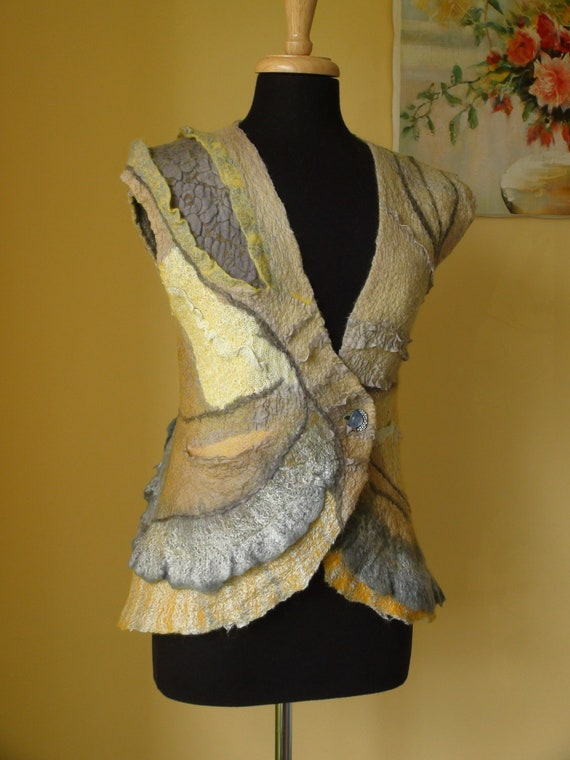 Nuno felted vest, wonderfully figure flattering