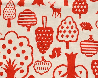Kokka Woodland Wonderland in Tomato on Natural Linen Japanese Textile