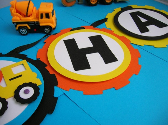 Construction Theme Birthday Party Banner