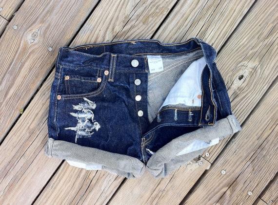 Jean Shorts High Waist LEVI'S 501 button Fly Distressed Cutoffs Size US 1/2