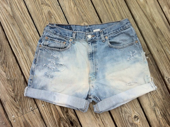 Jean Shorts VINTAGE High Waist LEVI'S 505 Bleach Grunge Distressed Shorts Plus Size US 35 Unisex