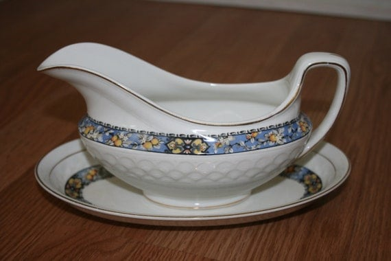 Vintage Johnson Brothers Bros Edward Pattern Gravy Boat and Saucer China Made in England White with Blue and Yellow SCT