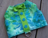 Dog Harness Vest In Blue and green tie dye print with bow tie Size X-Small for toy dogs