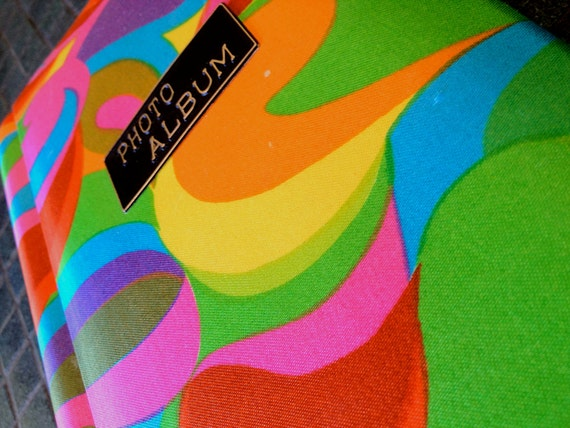 Vintage MOD 1960s 60s 70s Photo Album Groovy Psychedelic Bright Colors Fabric Print Retro Home Bedroom Decor Scrap Book Scrapbook Supplies