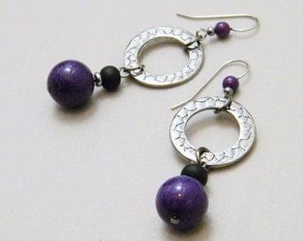 Fit for a Villain - Matte Black Sea Glass Royal Purple Marble Stone Dark Metallic Gray Gunmetal Circle Dangle Drop Earring