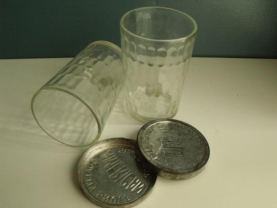 Vintage Glass Snuff Jars Metal Lid American Garrett