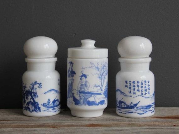 Trio of Milk Glass Storage Jars