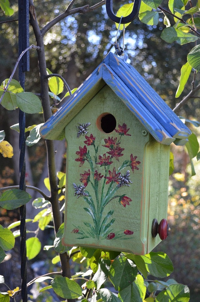 Birdhouse Hand Painted Flowers With Bees Blue Amp Green Bird
