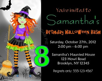 Printable Halloween Birthday party, Invitation Custom Personalized Digital File, DIY Printable